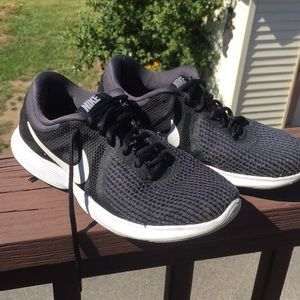 Grey and Black Woven Nike Sneakers